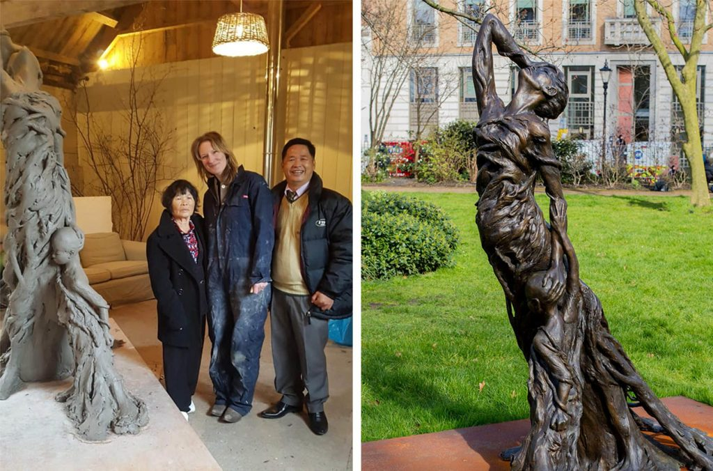 "Left: Tran Thi Ngai with her son Tran Van Ty and the artist Rebecca Hawkins / Right: The sculpture ""Mother and Child"""